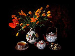 Fotos Stillleben Mohn Flötenkessel Tee Schwarzer Hintergrund Vase Tasse Blumen Lebensmittel