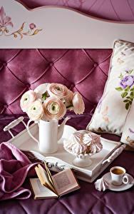 Bilder Stillleben Hahnenfuß Zefir Kaffee Buch Tasse Kanne Blumen