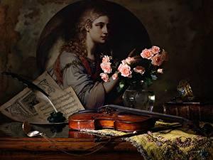 Desktop hintergrundbilder Stillleben Rosen Federn Violine
