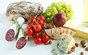 Images Still-life Sausage Bread Cheese Tomatoes Pears Grapes Nuts