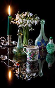 Fotos Stillleben Schneeglöckchen Sträuße Kerzen Schwarzer Hintergrund Tasse Flasche Spiegelung Spiegelbild Blumen