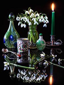 Hintergrundbilder Stillleben Schneeglöckchen Kerzen Vase Tasse Spiegelung Spiegelbild Löffel Blüte