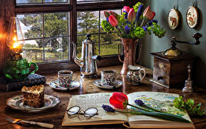 Wallpapers Still-life Tulips Hyacinths Paraffin lamp Kettle Coffee Torte Vase Cup Eyeglasses Plate Piece Flowers