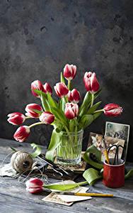 Hintergrundbilder Stillleben Tulpen Bretter Vase Blumen