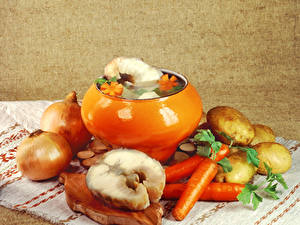 Wallpapers Still-life Vegetables Onion Potato Carrots Fish - Food Food