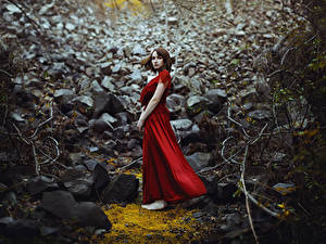 Fonds d'écran Pierres Les robes Rouge Ronny Garcia No way out Filles