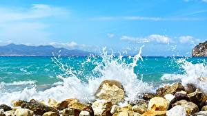 Picture Stone Sea Waves Water splash Nature