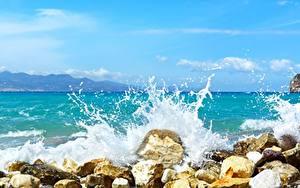 Bilder Stein Meer Wasserwelle Spritzwasser