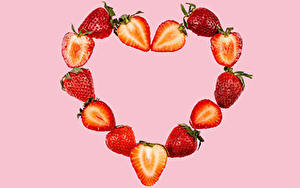 Picture Strawberry Pink background Heart Food