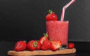 Bilder Erdbeeren Smoothie Getränk Trinkglas