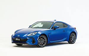 Fotos Subaru Blau Metallisch Weißer hintergrund BRZ, JP-spec, 2021 auto