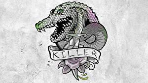 Hintergrundbilder Suicide Squad 2016 Logo Emblem Tätowierung Killer Croc Film