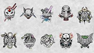 Hintergrundbilder Suicide Squad 2016 Logo Emblem Tätowierung Film
