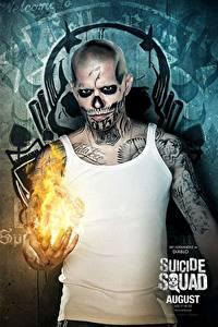 Hintergrundbilder Suicide Squad 2016 Mann Flamme Tätowierung Unterhemd El Diablo Film