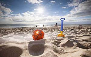Fotos Sommer Küste Himmel Strand Sand Ball Wolke Sonne