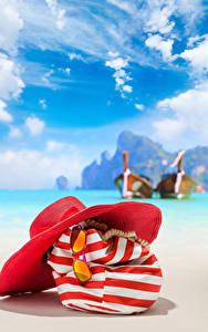 Hintergrundbilder Sommer Handtasche Himmel Der Hut Brille