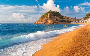 Hintergrundbilder Sommer Meer Wasserwelle Spanien Strand Tossa de Mar, Girona Städte