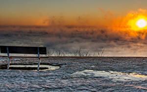 Fotos Sonnenaufgänge und Sonnenuntergänge Winter Bank (Möbel) Nebel Sonne Schnee