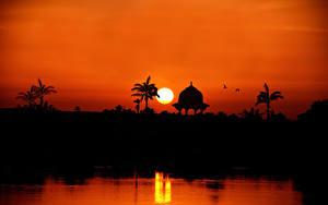 Fotos Sonnenaufgänge und Sonnenuntergänge Ägypten Sonne Silhouette the Nile River towards Assuan