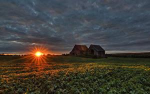 Fotos Sonnenaufgänge und Sonnenuntergänge Haus Acker Kanada Quebec Sonne