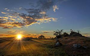 Bilder Sonnenaufgänge und Sonnenuntergänge Landschaftsfotografie Himmel Wolke Sonne Lichtstrahl