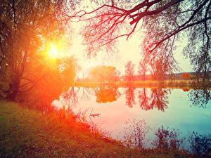 Hintergrundbilder Sonnenaufgänge und Sonnenuntergänge Flusse Bäume Sonne Ast