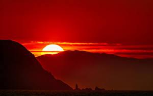 Bilder Sonnenaufgänge und Sonnenuntergänge Gebirge Sonne Natur