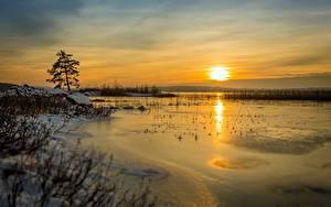 Hintergrundbilder Sonnenaufgänge und Sonnenuntergänge Winter See Himmel Sonne