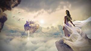 Wallpaper Sunrises and sunsets Castles Frock Clouds Rock Fantasy Girls