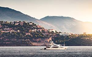 Hintergrundbilder Sonnenaufgänge und Sonnenuntergänge Küste Monte-Carlo Monaco Meer Yacht Städte