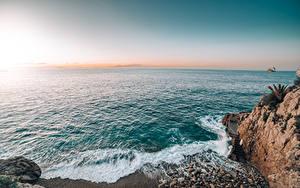 デスクトップの壁紙、、朝焼けと日没、海岸、海、モナコ、岩、地平線、