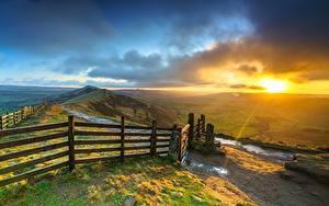 Fotos Morgendämmerung und Sonnenuntergang England Zaun Hügel Wolke Mam Tor, Peak District, Derbyshire Natur