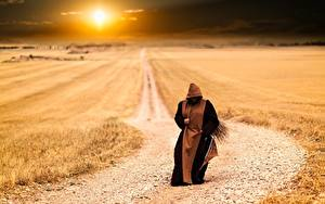 Image Sunrises and sunsets Fields Roads Sun Monk, Pilgrim Nature