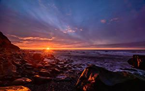 Fotos Sonnenaufgänge und Sonnenuntergänge Neuseeland Steine Himmel Landschaftsfotografie Sonne Horizont
