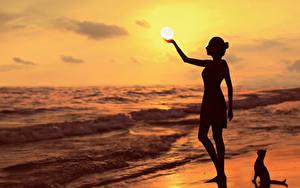 Bilder Sonnenaufgänge und Sonnenuntergänge Meer Silhouette Sonne G.BUER Natur Mädchens
