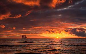 Bilder Sonnenaufgänge und Sonnenuntergänge Meer Schiffe Wolke Horizont Sonne