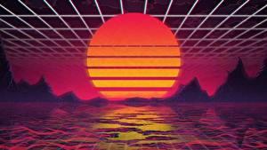 Bilder Sonnenaufgänge und Sonnenuntergänge Retrowave Sonne