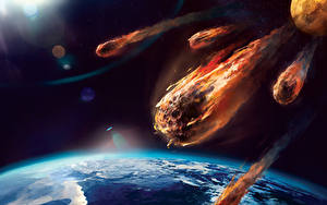 Picture Surface of planets Earth meteor Space Fantasy