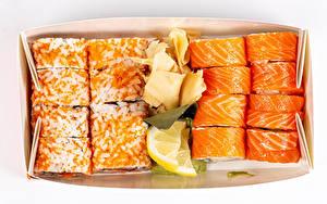 Desktop hintergrundbilder Sushi Käse Zitronen Rogen Weißer hintergrund Lebensmittel
