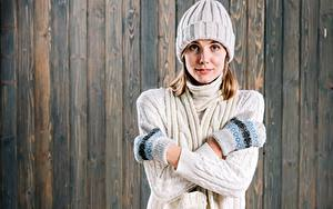 Photo Sweater Winter hat Mittens Wood planks Hands Girls