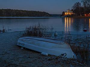Hintergrundbilder Schweden Abend Flusse Küste Boot Natur