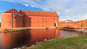 Hintergrundbilder Schweden Festung Flusse Brücken Landskrona