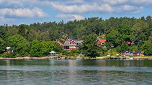 Fotos Schweden Haus Flusse Wälder Bootssteg Vaxholm