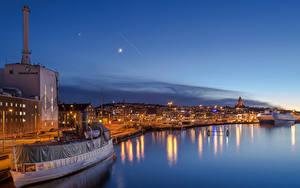 Bilder Schweden Gebäude Flusse Schiffsanleger Schiffe Nacht Gothenburg