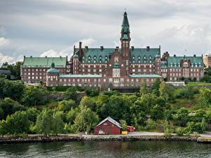 Hintergrundbilder Schweden Stockholm Haus Küste Danvikshem Städte