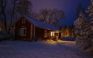 Bilder Schweden Winter Abend Haus Schnee Bäume Städte