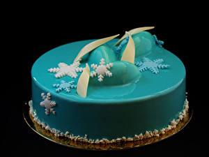 Fotos Süßware Torte Schwarzer Hintergrund Design Hellblau Schneeflocken Lebensmittel