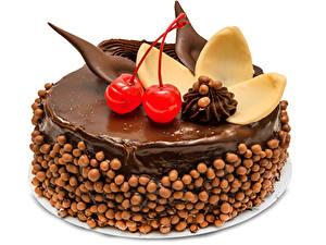 Fotos Süßware Torte Schokolade Kirsche Weißer hintergrund Design Lebensmittel