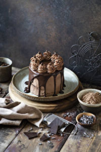 Fotos Süßigkeiten Torte Schokolade Bretter Kakaopulver