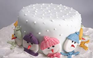 Bilder Süßware Torte Neujahr Zuckerguss Schneemänner Mütze das Essen